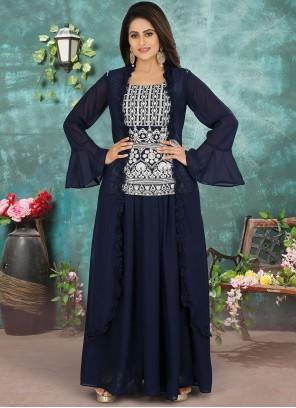 Navy Blue Festival Georgette Designer Suit