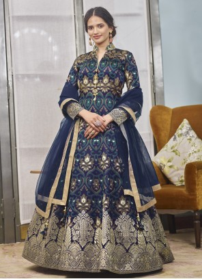 Navy Blue Festival Readymade Anarkali Salwar Suit