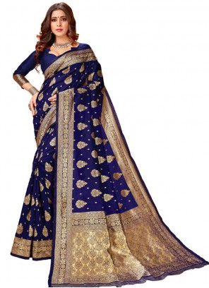Navy Blue Festival Silk Classic Designer Saree