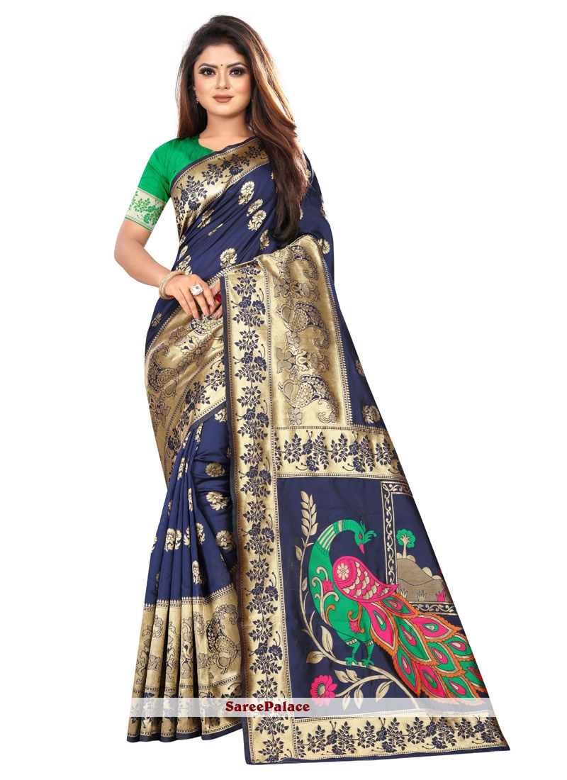 Navy Blue Festival Silk Saree