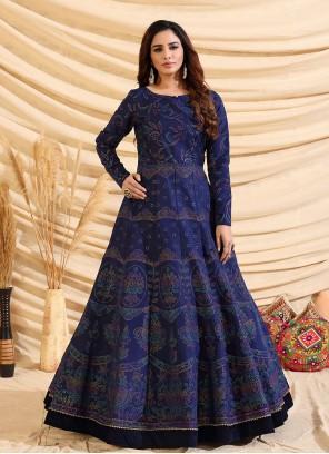 Navy Blue Festival Tafeta Silk Designer Gown