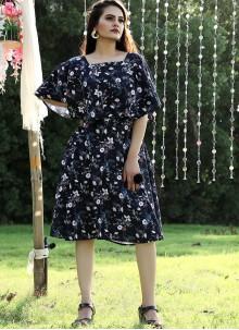 Navy Blue Georgette Casual Designer Kurti