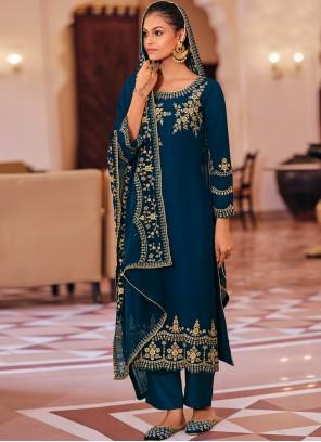 Navy Blue Georgette Embroidered Trendy Salwar Kameez