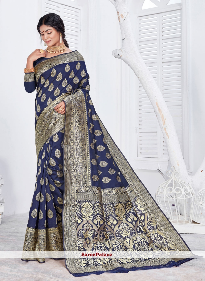 Navy Blue Jacquard Classic Designer Saree