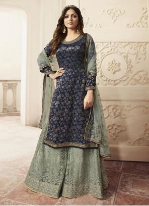 Navy Blue Jacquard Designer Salwar Kameez