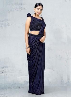 Navy Blue Lycra Designer Saree