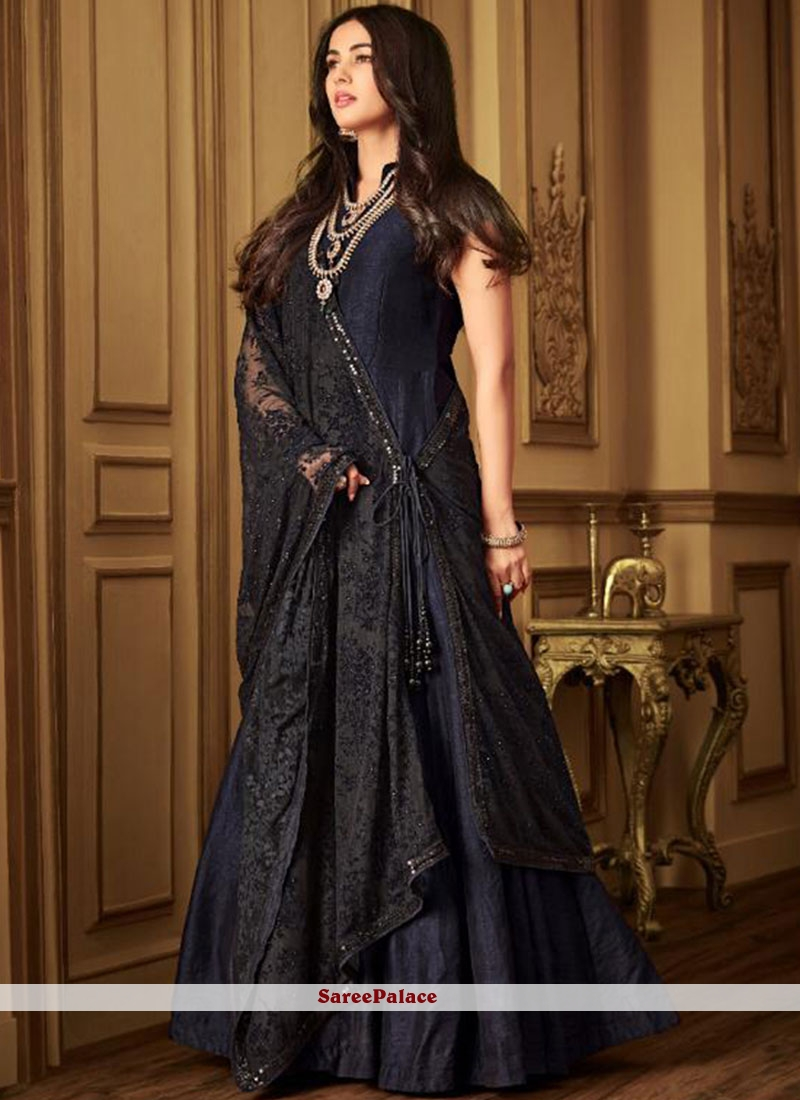 334578fcbb Buy Navy Blue Net Embroidered Designer Salwar Kameez Online
