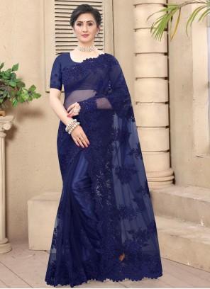 Navy Blue Net Resham Trendy Saree