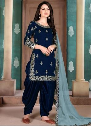 Navy Blue Party Art Silk Designer Salwar Kameez
