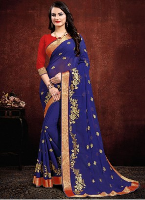 Navy Blue Party Georgette Contemporary Saree