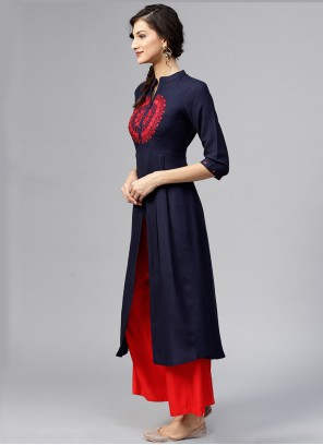 Navy Blue Party Party Wear Kurti