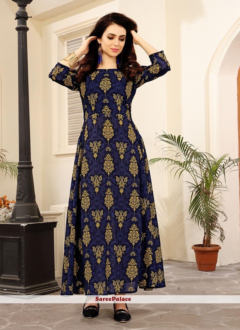 9a9e250172 Buy Navy Blue Party Wear Kurti Online