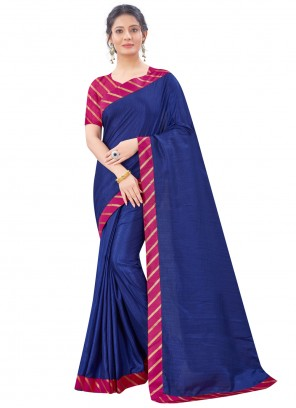 Navy Blue Patch Border Festival Traditional Saree