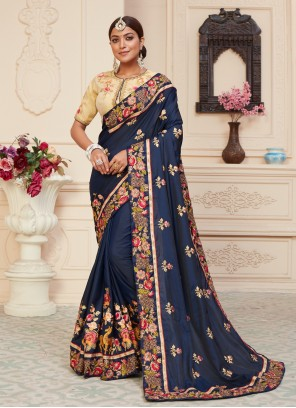 Navy Blue Patch Border Silk Designer Traditional Saree