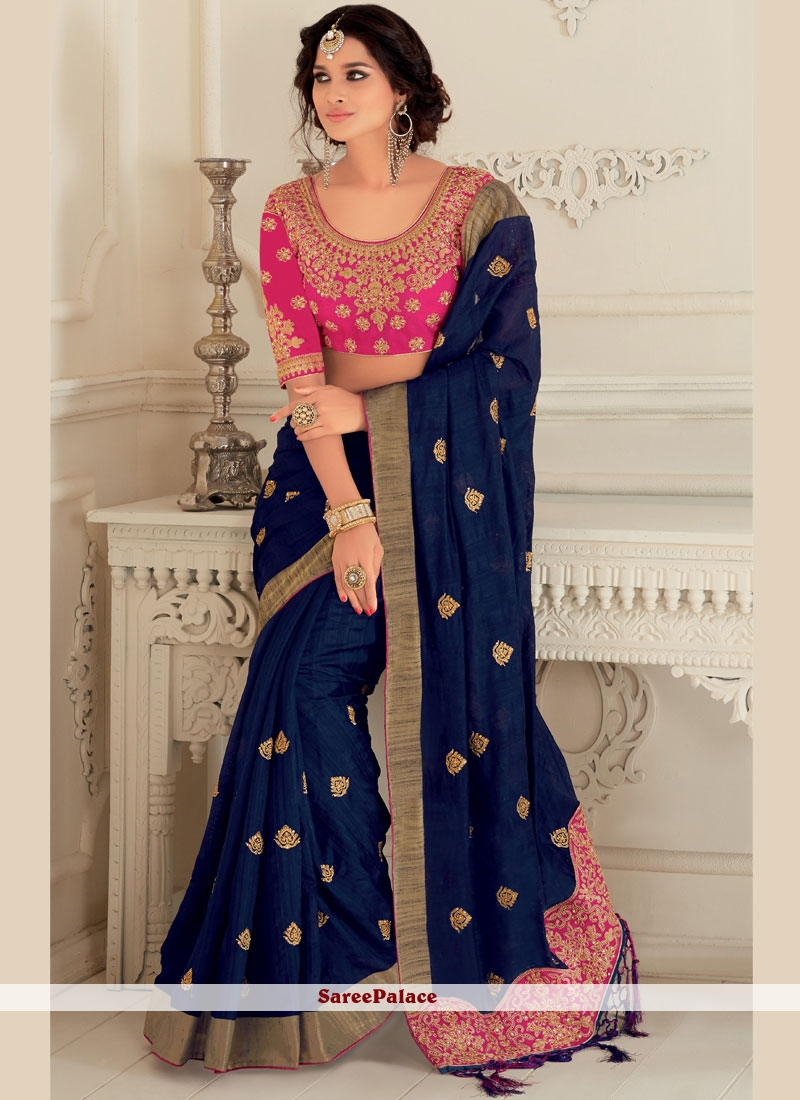 bec785f2f08 Buy Navy Blue Patch Border Work Art Silk Traditional Saree Online
