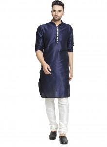 Navy Blue Plain Art Dupion Silk Kurta Pyjama