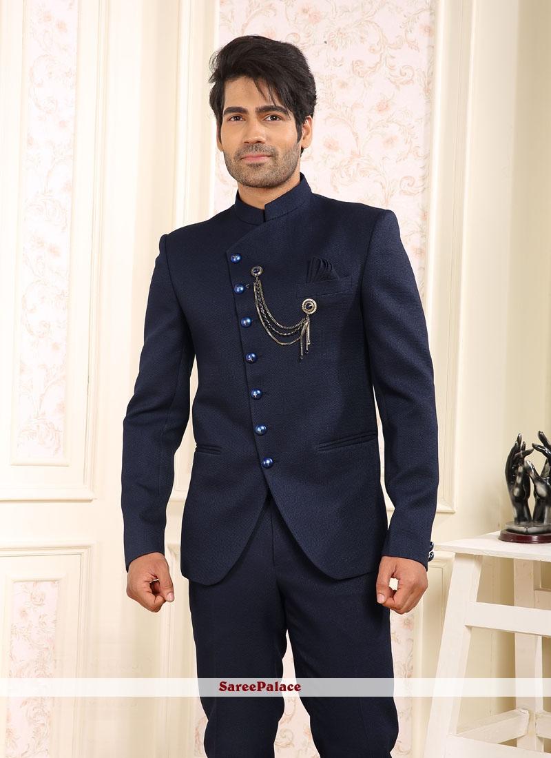 Navy Blue Plain Coats & Blazers