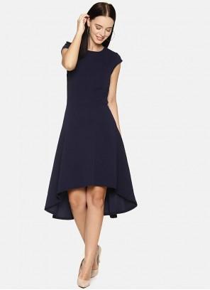 Navy Blue Plain Designer Kurti