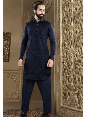 Navy Blue Plain Kurta Pyjama