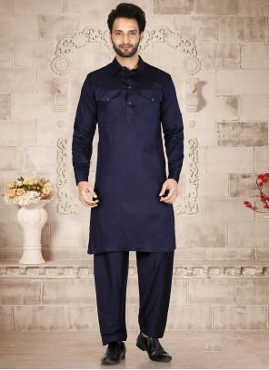 Navy Blue Plain Maslin Cotton Kurta Pyjama