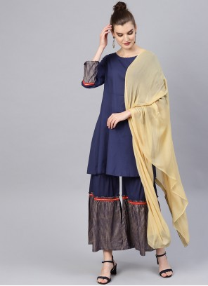 Navy Blue Print Bollywood Salwar Kameez