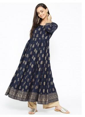 Navy Blue Print Cotton Designer Kurti
