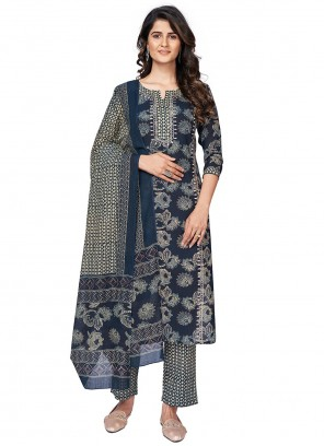 Navy Blue Print Readymade Suit