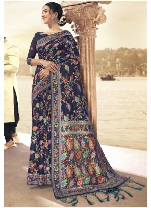 Navy Blue Printed Art Silk Saree