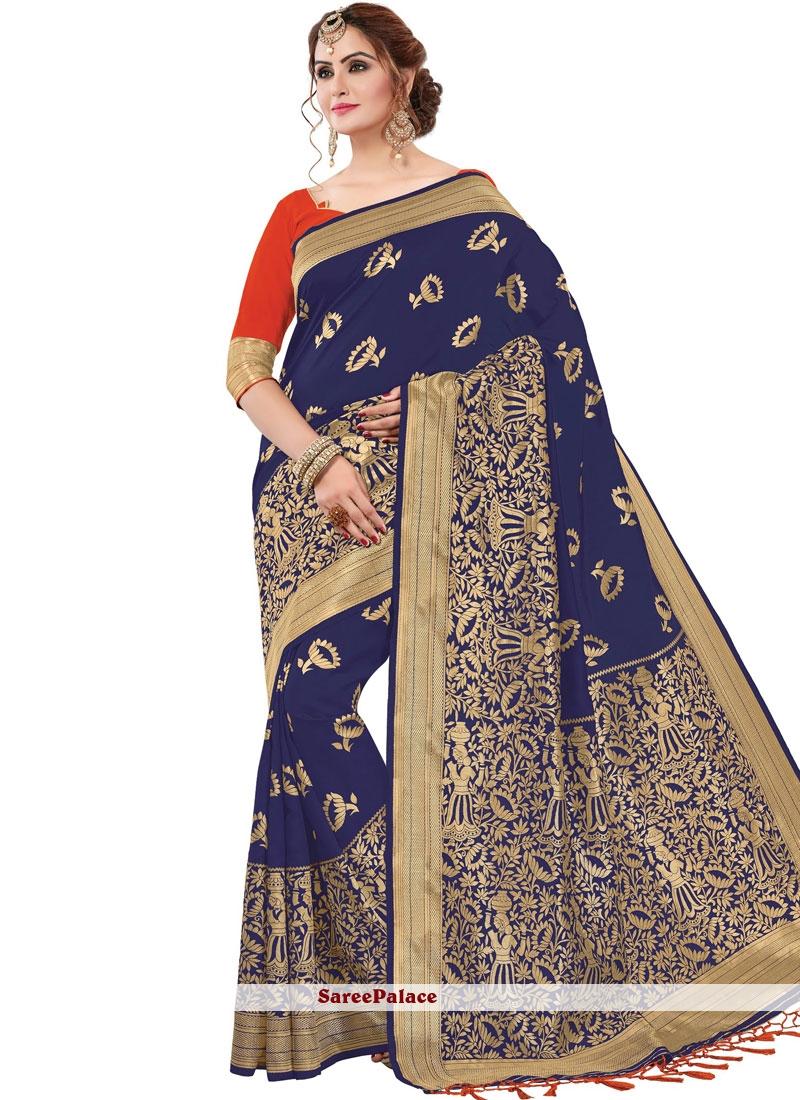 Navy Blue Printed Banarasi Silk Classic Saree