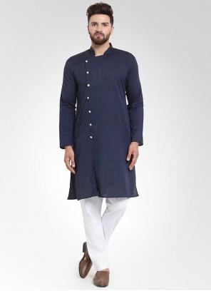 Navy Blue Printed Cotton Kurta Pyjama