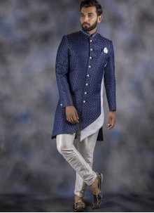 Navy Blue Printed Jacquard Indo Western