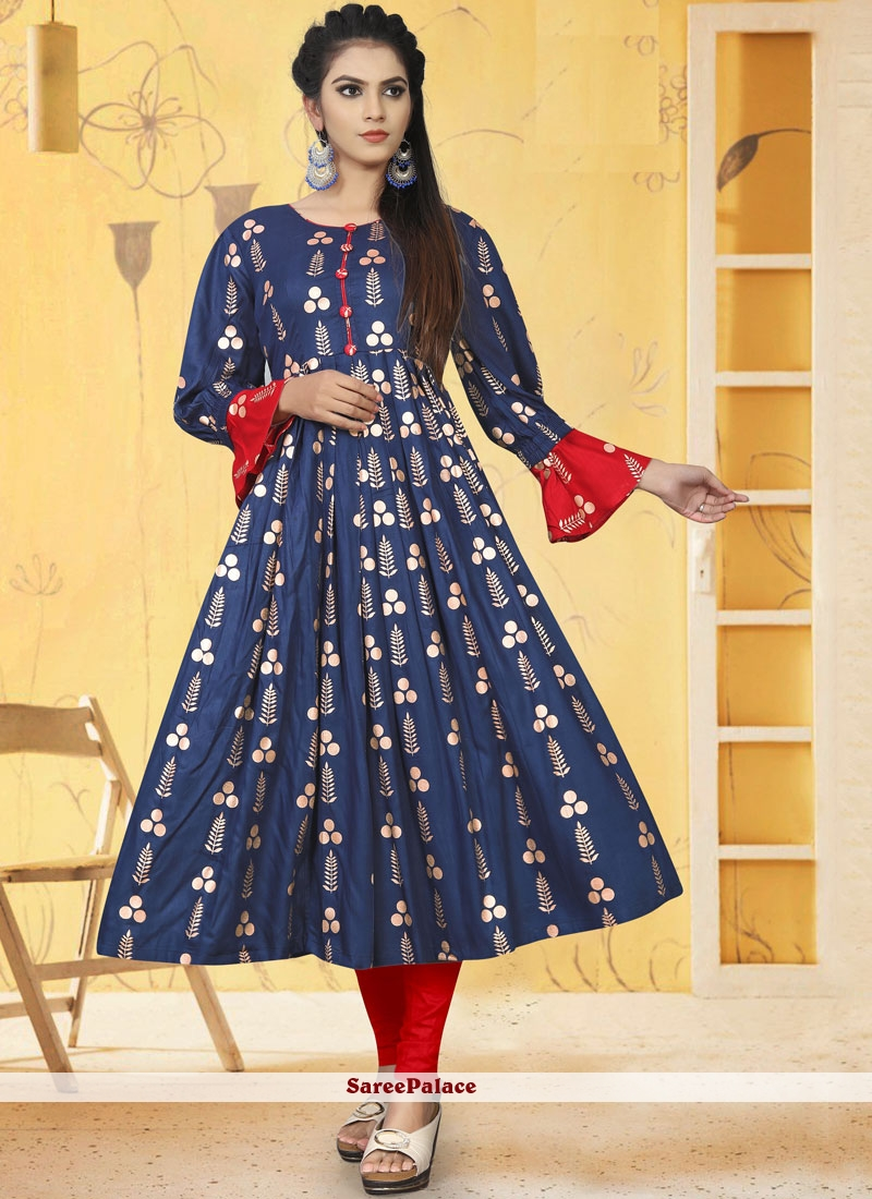Navy Blue Printed Rayon Party Wear Kurti