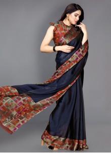 Navy Blue Printed Traditional Saree