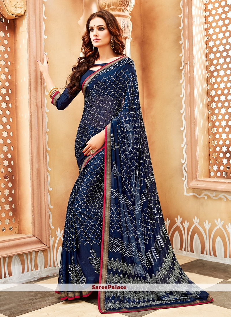 Navy Blue Printed Trendy Saree