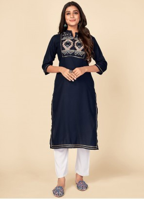 Navy Blue Rayon Embroidered Party Wear Kurti