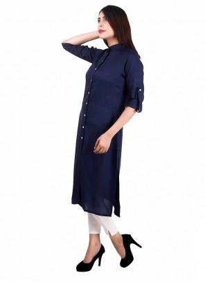 Navy Blue Rayon Salwar Kameez