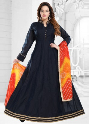 Navy Blue Readymade Gown