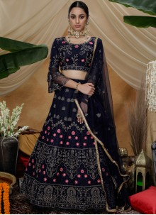 Navy Blue Reception Trendy Lehenga Choli
