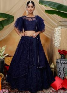 Navy Blue Resham Designer Lehenga Choli