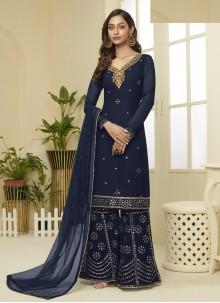 Navy Blue Resham Designer Palazzo Salwar Suit