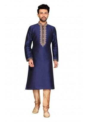 Navy Blue Sangeet Art Dupion Silk Kurta Pyjama