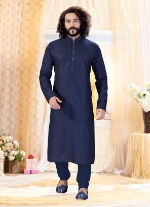 Navy Blue Sangeet Art Silk Kurta Payjama With Jacket