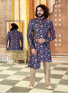 Navy Blue Sangeet Art Silk Sherwani