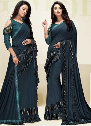 Navy Blue Sangeet Fancy Fabric Designer Saree