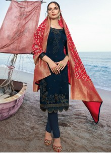Navy Blue Satin Churidar Salwar Kameez