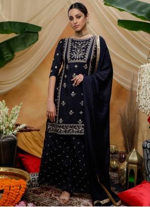 Navy Blue Sequins Chinon Bollywood Salwar Kameez