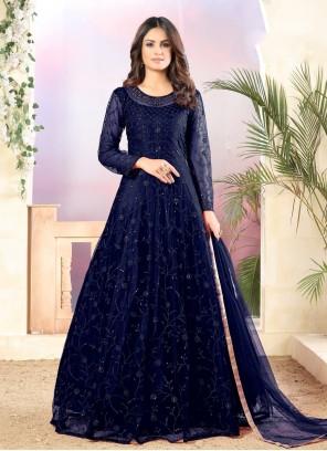 Navy Blue Sequins Floor Length Anarkali Salwar Suit