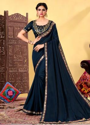 Navy Blue Silk Classic Designer Saree