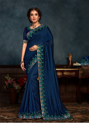 Navy Blue Silk Classic Saree