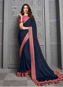 Navy Blue Silk Contemporary Saree